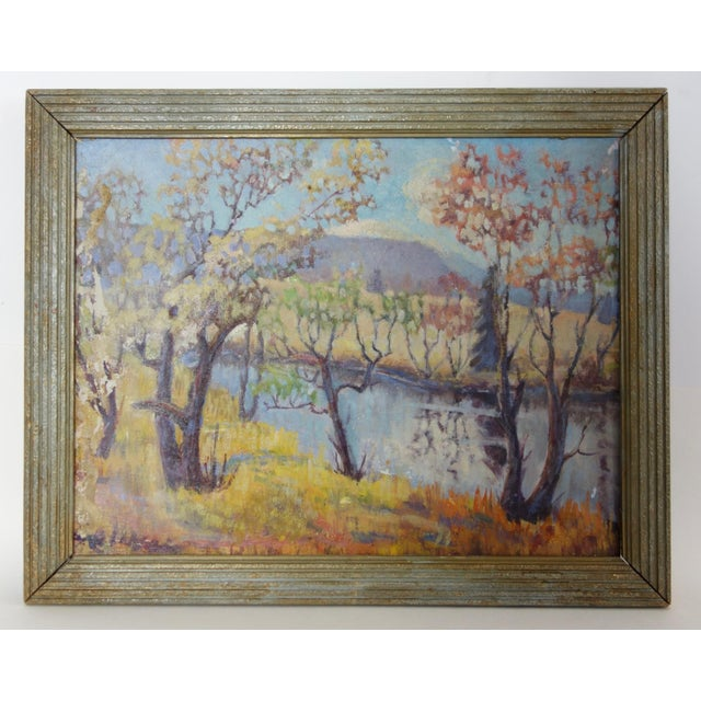 Vintage Oil on Canvas Fall Landscape Painting For Sale - Image 12 of 12