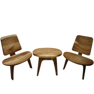 Mid Century Modern Style Table & Chairs Set - 3 Pieces For Sale