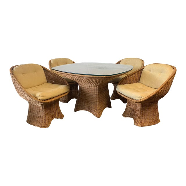 Sculptural Wicker Dining Set, Table and Four Chairs For Sale