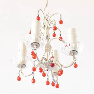 Small Iron Chandelier W/Red Beads Preview