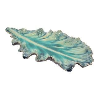 Vintage Large Acanthus Leaf Majolica Platter in Aquamarine by Jardins en Fleur For Sale