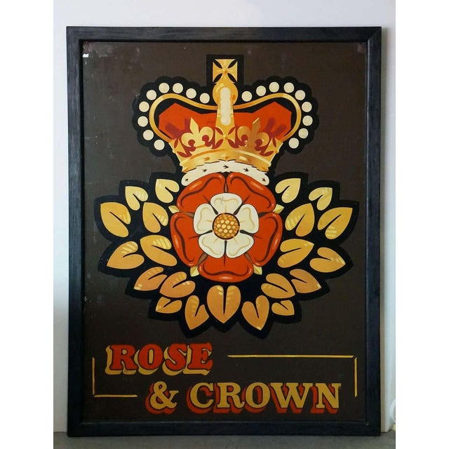 An authentic English pub sign (two-sided) featuring a painting of the British crown over a Tudor Rose, entitled: Rose and...