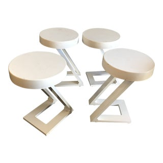 1980s Contemporary Z Shape White Bar Stools - Set of 4
