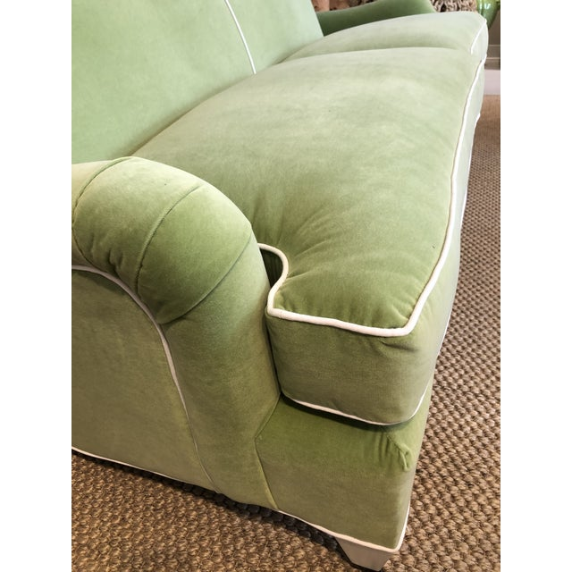C.R. Laine Furniture Green Velvet Traditional Low Profile Arm Sofa For Sale - Image 4 of 6