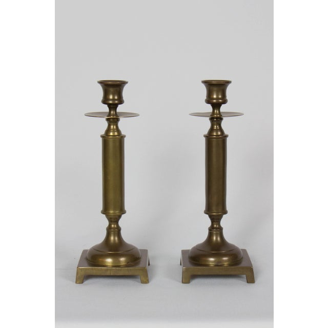 Mid 20th Century Antiqued Brass Column Candlesticks - a Pair For Sale - Image 5 of 5