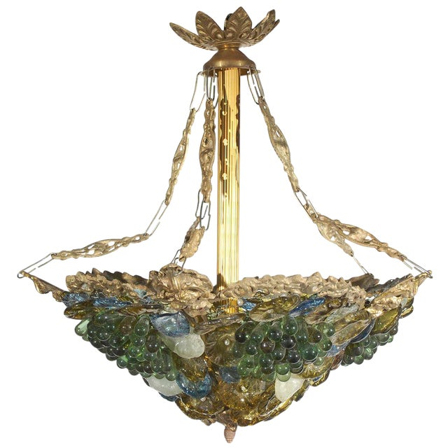 Art Deco Art Glass & Brass Chandelier For Sale