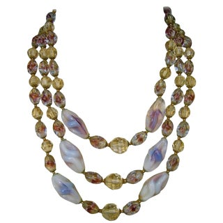 Glittering Crystal Glass Beaded Graduated Necklace Ca 1960 For Sale