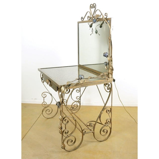 Wrought Iron Vanity & Mirror With Granite Table Top , Floral Accents & Coordinating Bench For Sale - Image 4 of 13