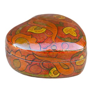 Abstract Heart Shaped Painted Box For Sale