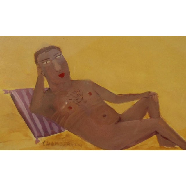 Reclining Male Nude at Beach by Ann Chamberlin - Image 4 of 4