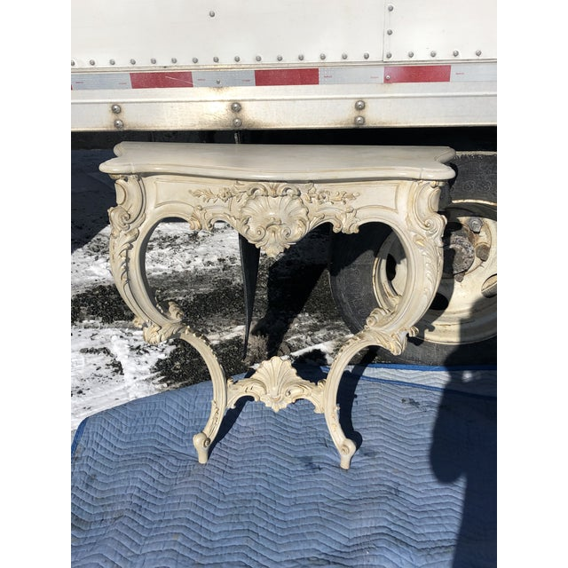 Louis XV Style Relief Carved Antiqued Ivory Painted Parcel-Gilt Console Table For Sale - Image 12 of 12