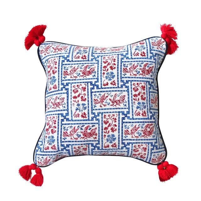 "Indigo & Red Chinoiserie Pillowcase ""Love Birds"" - Image 8 of 8"