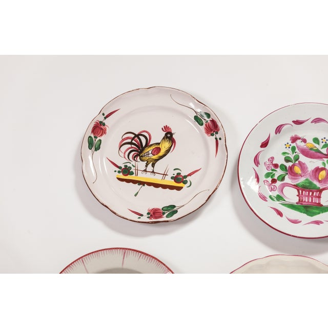 6 Piece Rooster Themed Pottery Plates