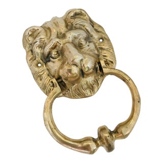 Vintage Bronze Lion Head Door Knocker For Sale