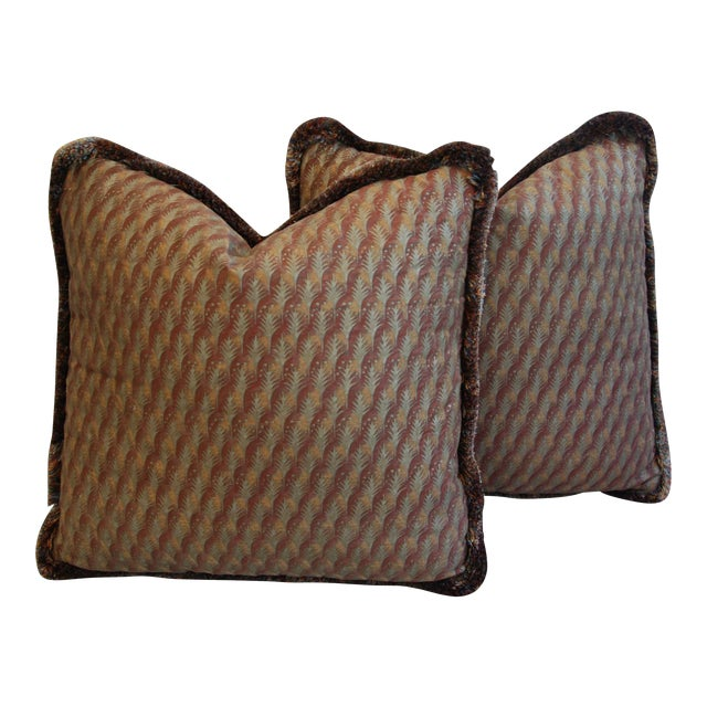 "23"" Custom Tailored Italian Mariano Fortuny Piumette Feather/Down Pillows - Pair For Sale"