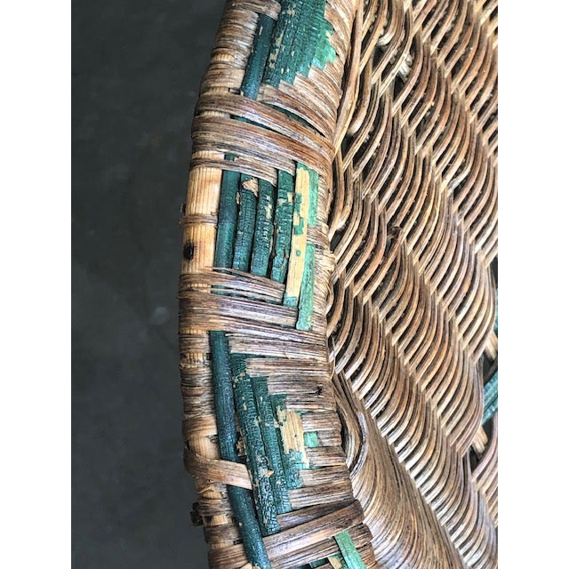 Green Antique Wicker Chairs-A Pair For Sale - Image 8 of 11