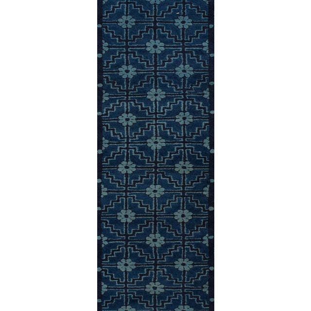 "Apadana - Antique Blue Chinese Peking Runner Rug, 2'5"" x 10' For Sale - Image 4 of 5"