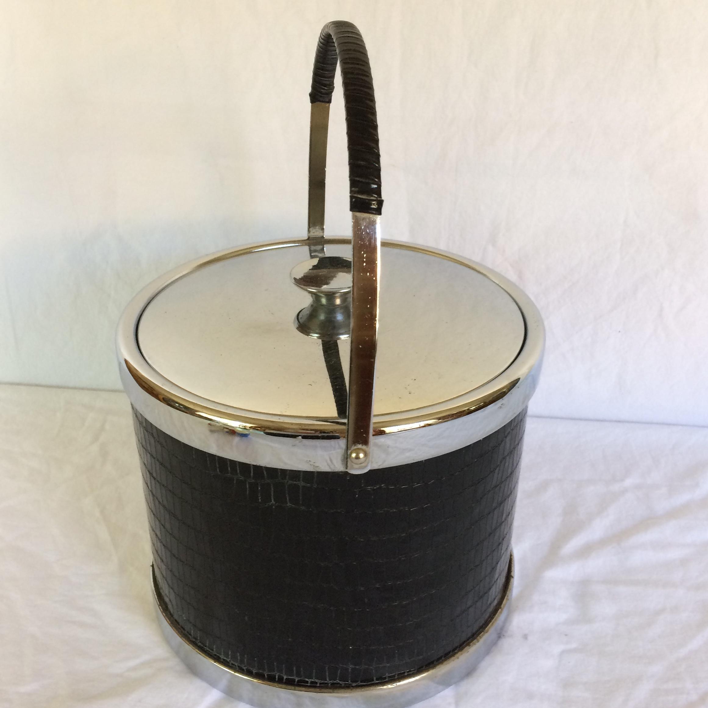 Amazing Mid Century Modern Black Leather U0026 Chrome Ice Bucket With Tongs   Image 3 Of