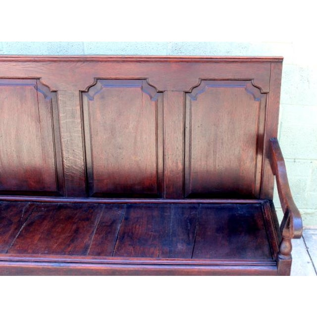 Late 18th Century English Oak Paneled Back Bench For Sale - Image 5 of 6