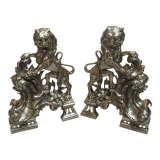 French Bronze Lion Motif Chenets - A Pair