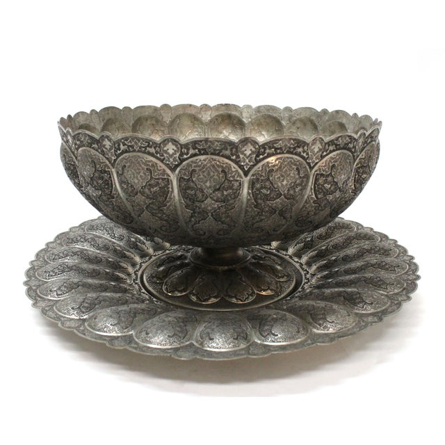 Persian Engraved Ghalam Zani Punch Bowl For Sale - Image 5 of 9