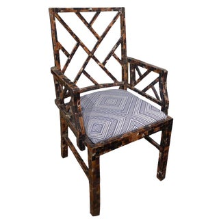 1970s Enrique Garcel Chippendale-Style Tessellated Horn Chair For Sale