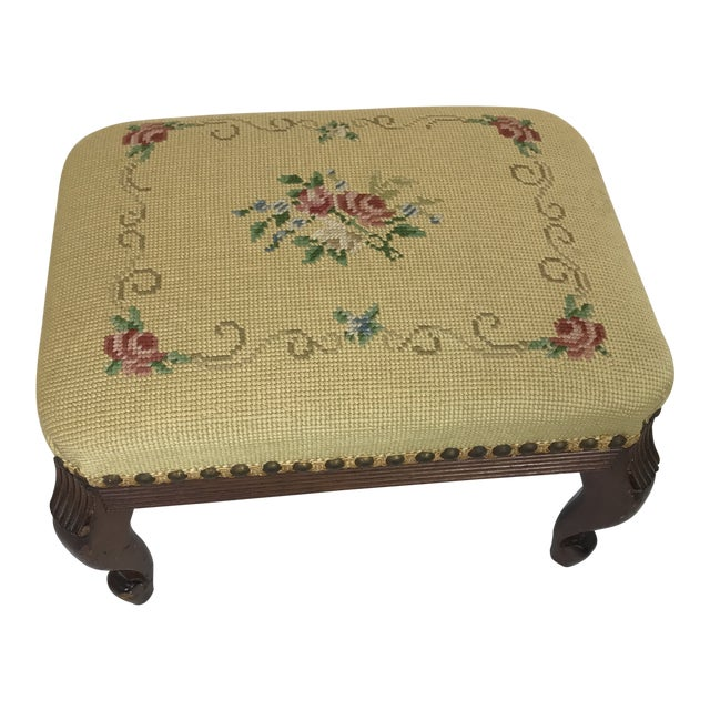 1940s Shabby Chic Needlepoint Footstool For Sale