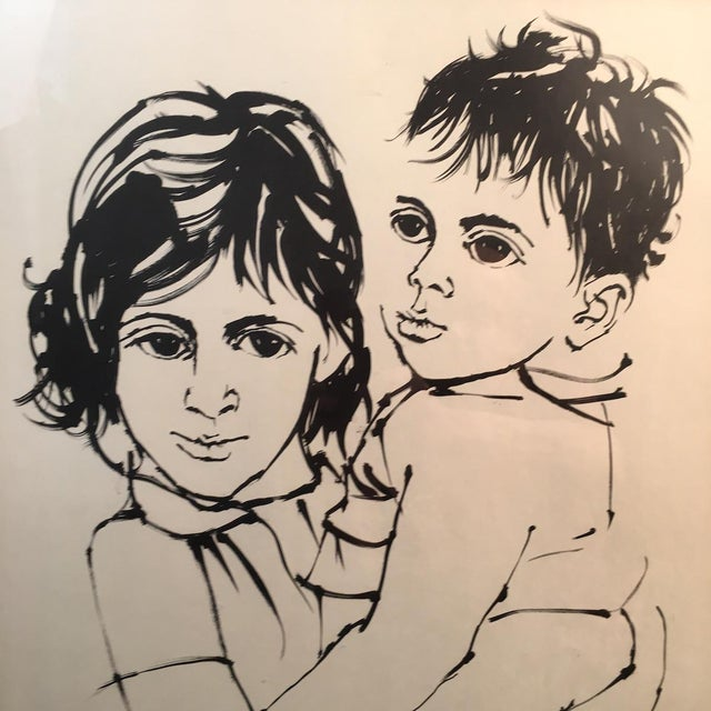 "Portraiture Vintage Israeli Art ""Brother and Sister"" Moshe Gat Signed and Numbered Print, 1960s For Sale - Image 3 of 6"