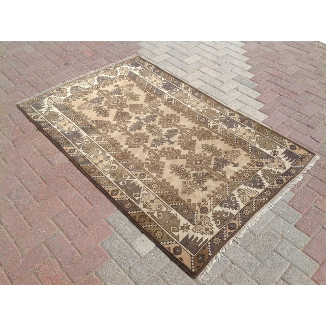 One of a kind hand made Oushak Rug. This gorgeous hand knotted area rug was made in the 1940's by Anatolian tribes....