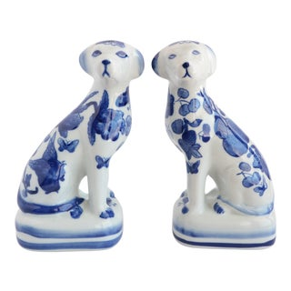 Blue & White Pottery Mantel Dogs For Sale