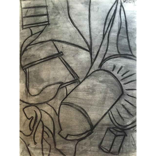 1950s Charcoal Still Life Spray Paint Signed For Sale - Image 4 of 8