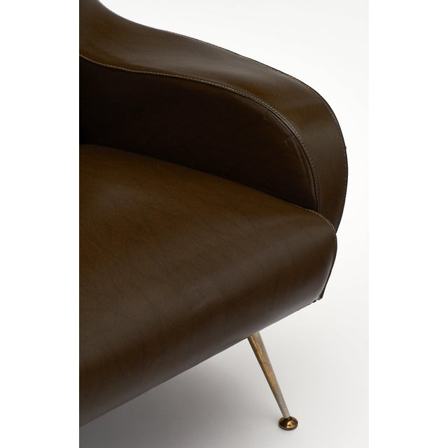 Vintage French Modernist Brown Vinyl Armchairs - a Pair For Sale In Austin - Image 6 of 10