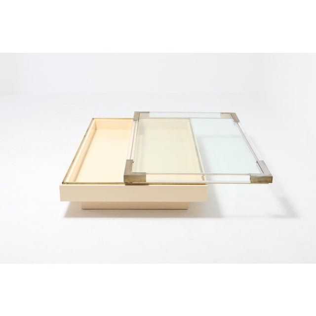 Charles Hollis Jones Sliding Coffee Table in Brass, Lucite and Lacquer by Charles Hollis Jones 1970s For Sale - Image 4 of 9