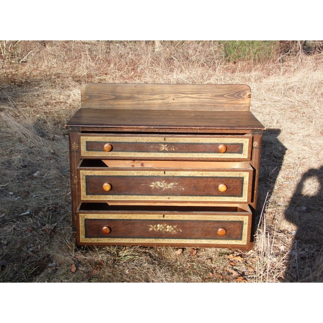 Brown Antique Victorian Country Cottage Hand Painted Chest of Drawers Dresser Commode For Sale - Image 8 of 11