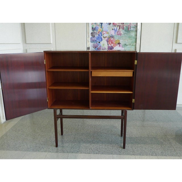 Metal 1960s Danish Rungstedlund Mahogany Highboard by Ole Wanscher for Poul Jeppesen For Sale - Image 7 of 13