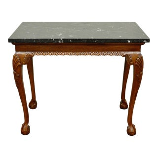 Vintage Carved Mahogany Chippendale Sty Ball and Claw Marble Top Console Table B For Sale