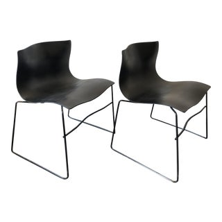 1980s Mid-Century Modern Massimo Vignelli for Knoll Black Handkerchief Chairs - a Pair