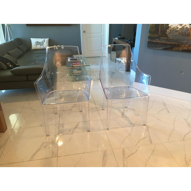 Plastic Mitchell Gold and Bob Williams Clair Clear Transparent Dining Chairs - A Pair For Sale - Image 7 of 7