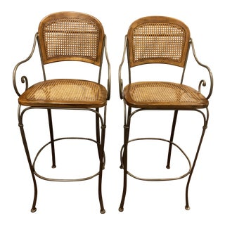 Vintage Drexel Heritage Cane & Metal Bar Stools- a Pair For Sale