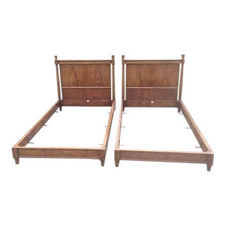 20th Century French Directoire Baker Furniture Walnut Twin Bedframes - a Pair For Sale