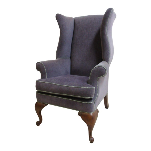 Vintage Purple Wingback Chair For Sale