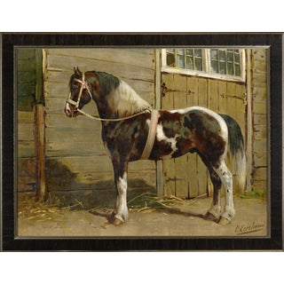 Danish Horse by Eerelman Framed in Italian Wood Vener Moulding For Sale