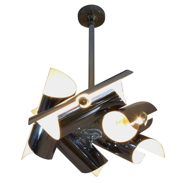 Italian 20th century vintage pendant lamp or chandelier of striking midcentury style composed of five tubular chrome...