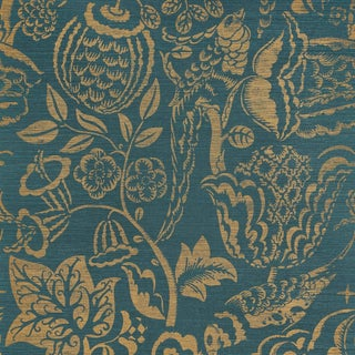 Sample - Schumacher Uccello Sisal Wallpaper in Gold on Peacock For Sale