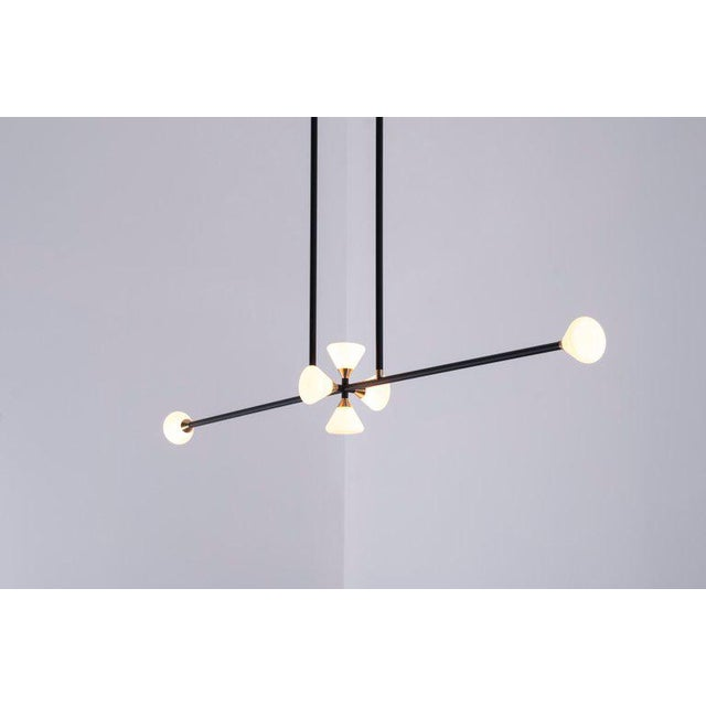 Not Yet Made - Made To Order McKenzie and Keim - Apollo Six Chandelier - Contemporary Linear Matte Black Led Modern Light Fixture For Sale - Image 5 of 10