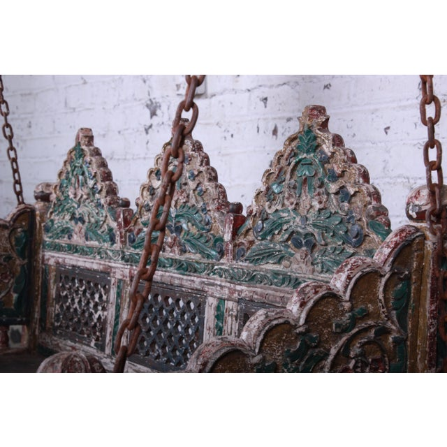 White 18th Century Ornate Carved Indian Jhula Bench Swing For Sale - Image 8 of 13