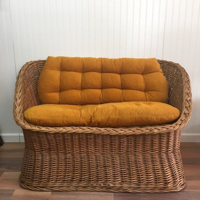 Brown 1970s Wicker Tub Settee Natural Rattan Love Seat For Sale - Image 8 of 9