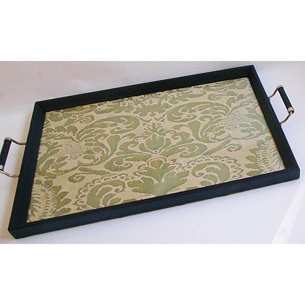 1930s Serving Tray W/ Italian Fortuny Fabric - Image 7 of 8