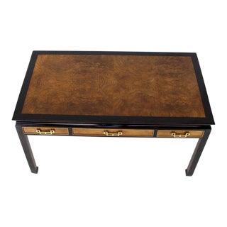 Burl Walnut Black Lacquer Ebonized Black Lacquer Frame Desk For Sale
