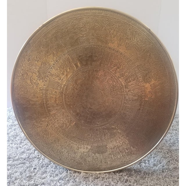 Vintage Egyptian Revival Brass Top Double Tiered Accent Table For Sale - Image 6 of 11
